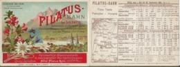 Horaire De Train.Railway.PILATUS Bahn Bei LUZERN.Chemin De Fer à Crémaillère - Europe