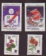 1990 TURKEY WILD FLOWERS - TRAFFIC OVERPRINTED REGULAR STAMPS MNH ** - 1921-... République