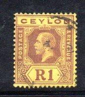 APR999 - CEYLON 1912 ,  Giorgio V 1 R Yvert N. 187  Usato (2380A) Fil. MultiCA - Ceylan (...-1947)