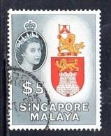 CI1103 - SINGAPORE 1955 , Ordinaria 5 Doll Yvert N. 42  Usato (2380A) . - Singapur (...-1959)
