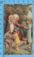 Die Cut , Image Pieuse - Offrande De Fleurs à Marie Et Jesus - Images Religieuses