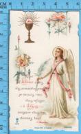 Die Cut , Image Pieuse - Ange, Calice,fleurs, +citation Du Pere Mousche, P. Monsabré - Devotion Images