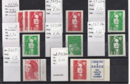 N° ROUGE ** : 1 X 2627a + 3 X 2628a + 1 X 2819a + 1 X 2823a + Adhésif 2874 Ba + 1 X 2427 + 1 X 3008 + 1 X 3535A - 1989-96 Bicentenial Marianne