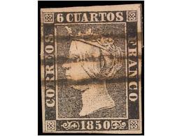 SPAIN: ISABEL II. 1850. 6 CUARTOS BLACK - Spagna
