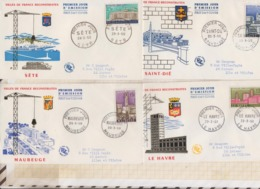 9/590 Premier Jour FDC 1958 VILLES DE FRANCE RECONSTRUITES SETE LE HAVRE MAUBEUGE ST DIE Lot De 4 - 1950-1959