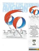 DUO M-P MARQUE-PAGE CARTE POSTALE SEMAINE D'ART AVIGNON 60 EME ANNIVERSAIRE ILLUSTRATEUR DESCLOZEAUX 2007 - Marcapáginas