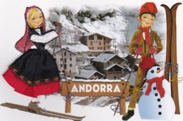 CARTE BRODEE:    ANDORRA  LE SKI - Brodées