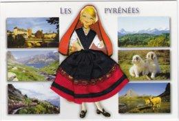 CARTE BRODE:  LES  PYRENEES - Brodées