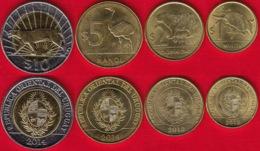 Uruguay Set Of 4 Coins: 1 - 10 Pesos 2012-2014 UNC - Uruguay