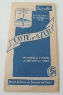 Dépliant Société Nationale Des Chemins De Fer SNCF Côte D'azur 1939 WWII Vintage - Eisenbahnverkehr