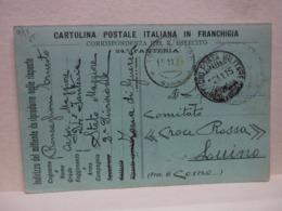 CARTOLINA IN FRANCHIGIA MILITARE I  GUERRA -- EDIZ. PRIVATA  -- CARTOLINA POSTALE ITALIANA IN FRANCHIGIA - Guerra 1914-18