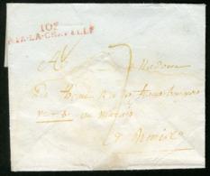 """1804 """"103 / AIX-LA-CHAPELLE"""" (49x8) En Rouge Sur Env. Pour PARIS + Taxe Manuscrite """"7"""" - Poststempel (Briefe)"""