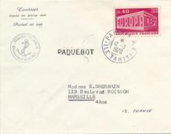 """EUROPA 1969 """" PAPEETE RP ILE TAHITI 12/3/1970 """" PAQUEBOT CALEDONIEN Courrier Posté à Bord Et Obl à L'escale Polynésiei - Marcophilie (Lettres)"""