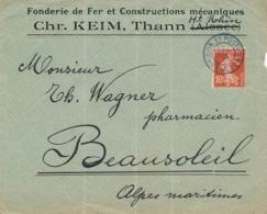 """Semeuse 138 Obl """" TRESOR ET POSTES 212 11/12/14 """" RECONQUETE Sur Lettre En-tête De THANN Alsace Haut-Rhin - Elsass-Lothringen"""