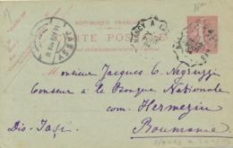 ENTIER CP SEMEUSE 10c Obl Convoyeur > JASSY ROUMANIE 1904 - Nancy à Langres - Vittel - Standard- Und TSC-AK (vor 1995)