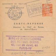 ENTIER CP CARTE REPONSE GANDON 12f INSPECTION TRAVAIL ET MAIN D'OEUVRE 1953 - GAN L2d - Entiers Postaux