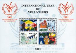 Ref. 114110 * NEW *  - BHUTAN . 2001. INTERNATIONAL YEAR OF THE VOLONTEER. A�O INTERNACIONAL DE LOS VOLUNTARIOS - Bhutan