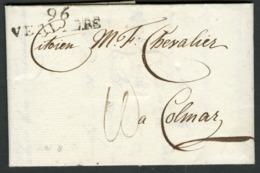 "1800 ""96 / VERVIERS"" (36x10) En Noir Sur Lettre Datée Du 2 Messidor An VIII Et Adressée à Colmar + Taxe Manuscrite 10 - 1794-1814 (Französische Besatzung)"