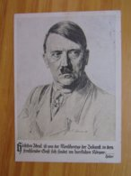 AK  Adolf Hitler Zudruck OLYMPIA 1936 Werbepostkarte Nr. 1 Und Hitler-Spruch 1935 - Guerra 1939-45
