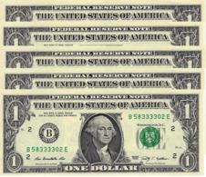 UNITED STATES 1 DOLLAR 2009 P-530B UNC NEW YORK 5 PCS [US530B] - Biljetten Van De  Federal Reserve (1928-...)