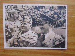 Foto-AK Hitler Und Mussolini Historische Begegnung 18.6.1940 Mit SST  PHOTO-HOFFMANN - War 1939-45