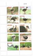 2015 Aruba Ostriches Birds Complete Set Of 10 @ 80% Face Value BARGAIN!!! - Curaçao, Antilles Neérlandaises, Aruba