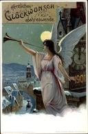 Entier Postal Cp Prosit Neujahr, Jahreszahl 1901, Engel Bläst In Die Trompete - Nouvel An