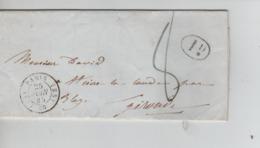 PR7552/ Précurseur LAC C.Paris 25/6/1845 Port 8 + 1 D Service Rural > St.Ciers La Lande Par Blaye C.St.Aubin En Arrivée - 1801-1848: Precursores XIX