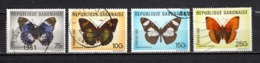 GABON  N° 474 à 477   OBLITERES  COTE 6.00€    PAPILLON ANIMAUX - Gabun (1960-...)