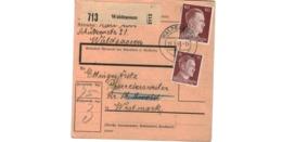 Allemagne  / Colis Postal  / Départ Waldsassen  / Pour Pfarrebersweiler ( Farébersviller ) /  15-3-43 - Germany