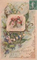 Bonne Année. - Fers à Cheval Dorés Enrubanés . Jolie Carte Gaufrée - Nouvel An