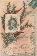Bonne Année. - Fer à Cheval Doré . Jolie Carte Gaufrée - Nouvel An