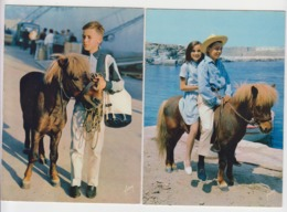 AB710 - LOT 2 CARTES - Chevaux - Poney - Les Aventures De POLY - Horses