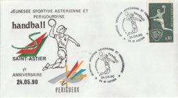 OT Sur Enveloppe : Handball (Saint-Astier En Dordogne-Périgord) Du 24-05-1990 - Marcophilie (Lettres)