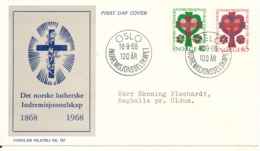 Norway FDC 16-9-1968 Indremisjonsselskap 100th Anniversary Complete Set Of 2 On Danish Cover With Cachet - FDC