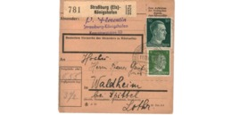 Allemagne  / Colis Postal  / Départ  Strasbourg - Königshofen / Pour Waldheim  Post Spittel  / 11-12-43 - Germany