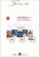 Belg. FDS 2008-08 OBP/COB Bl (3767/71) Antverpia 2010 - FDC