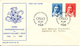 Norway FDC 31-10-1968 Norsk Sykepleierutdannelse Complete Set Of 2 On Danish Cover With Cachet - FDC