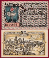 Allemagne 1 Notgeld 1/2 Mark Stadt Strausberg  (RARE) Dans L 'état Lot N °5000 - [ 3] 1918-1933 : Repubblica  Di Weimar