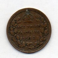 GRANDE BRETAGNE, 1/3 Farthing, Bronze, 1913, KM #823 - A. 1/3 Farthing