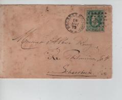 PR7554/ TP30 S/L.Format C.V. C.BXL Nord 18/5/1872 LOS PTS 63 > Schaerbeek Verso C.BXL + C.St.-Josse-Ten-Noode - Postmarks - Points