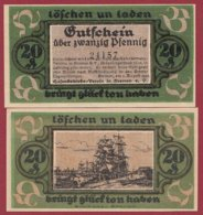 Allemagne 1 Notgeld 20 Pfenning Stadt Bremen  (RARE) Dans L 'état Lot N °5003 BIS - [ 3] 1918-1933 : República De Weimar