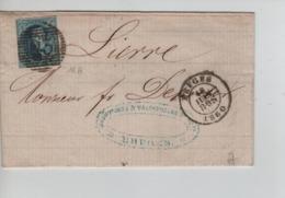 PR7555/ TP 11 A S/LAC C.Bruges 16/6/1860 Perception 23 Augustinus & Valcknenaere V Lierre C.d'arrivée - Postmark Collection