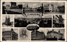 Cp Chrudim Reg. Pardubice, Kirche, Platz, Gebäude, Portrait Jos. Ressel, Panorama - Tschechische Republik