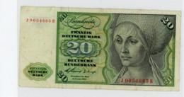 Billet De 20 Deutsche Mark 1960 - [ 7] 1949-… : RFA - Rep. Fed. Tedesca