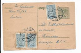 Österreich P 249 - 5 Kr. Wappenadler M. 3x300 Kr ZF  Nach Nicaragua Bedarfsverwendet - Ganzsachen