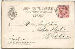 ALFONSO XIII CADETE TP LAS PALMAS  DORSO SIN DIVIDIR  PAQUEBOT SOUTHAMPTON SHIP LETTER 1907 - Briefe U. Dokumente