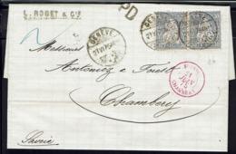 Suisse - 1875 - Affranchissement Helvétia Assise à 60 C. Sur Lettre De Genêve En P.D. Pour Chambery B/TB - - 1862-1881 Sitzende Helvetia (gezähnt)