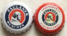 Lote 2 Chapas Kronkorken Caps Tappi Cerveza Paulaner. Munich.  Alemania - Cerveza