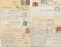 Lot De 11 Cachets Convoyeurs De Ligne Différents Sur Semeuses Blanc Et Gandon Sur 11 Cpa  Voir Les 4 Scans - Poststempel (Briefe)